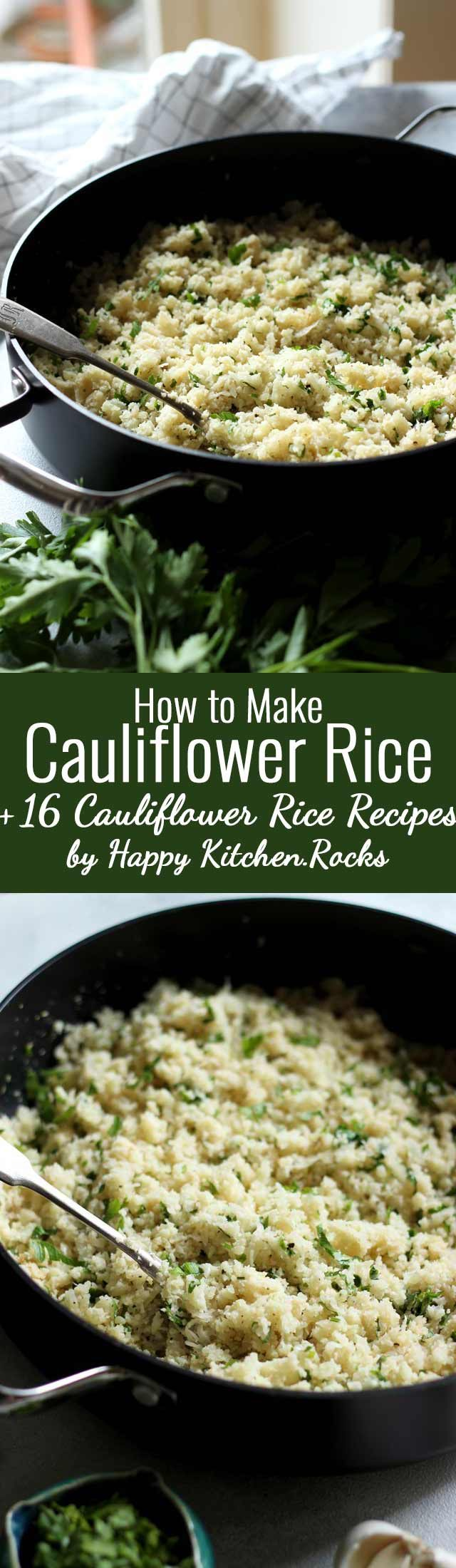 Light and fluffy basic Cauliflower Rice recipe used to make delicious gluten-free and low carb sides, risotto, fried rice, salads, soups, burrito bowls, sushi and more! Step-by-step video guide on how to make cauliflower rice using a box grater plus 16 recipes that include cauliflower rice. #lowcarb #glutenfree #recipes #healthyrecipes #vegan #veganrecipes #healthyveganrecipes #cleaneating #food #vegetarianrecipes