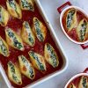 5 Ingredient Stuffed Shells with Spinach and Ricotta Beautiful Overhead with Various Servings