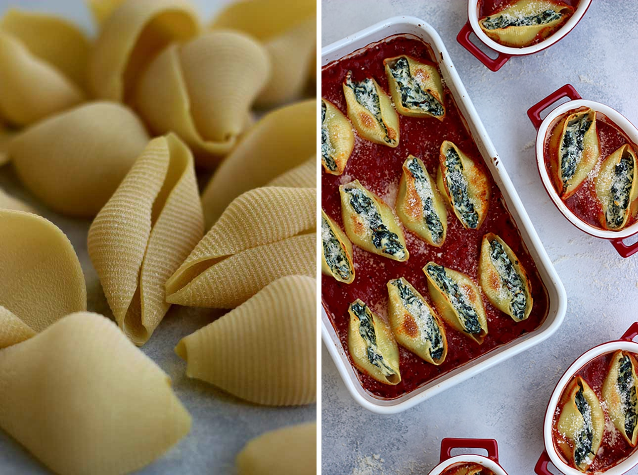 Dry Shells Next to Stuffed Shells in a Baking Dish Collage