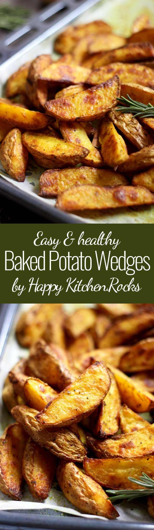 Easy Baked Potato Wedges Super Long Collage with Text Overlay