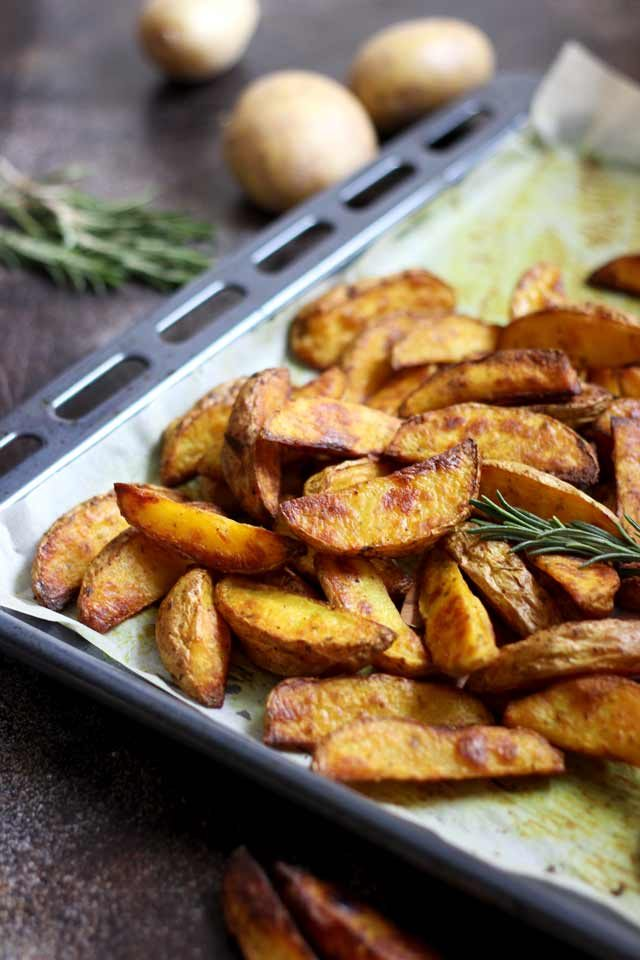 Easy Baked Potato Wedges in a Tray Angle Shot
