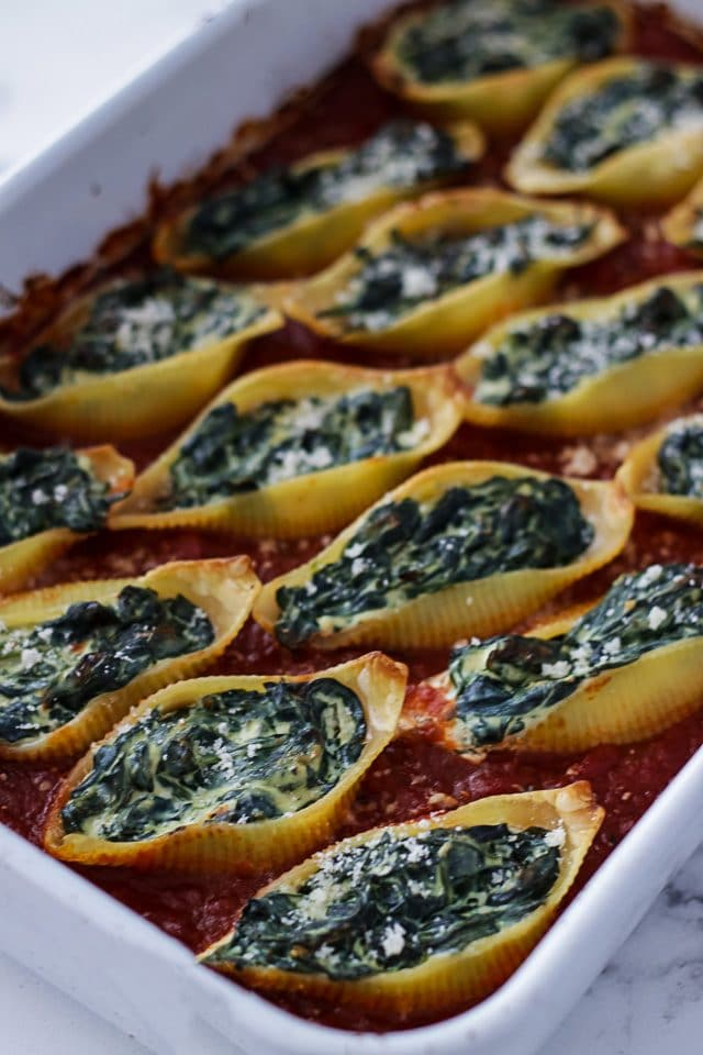 Jumbo Shells Stuffed with Ricotta and Spinach in a Large Rectangular Casserole Dish