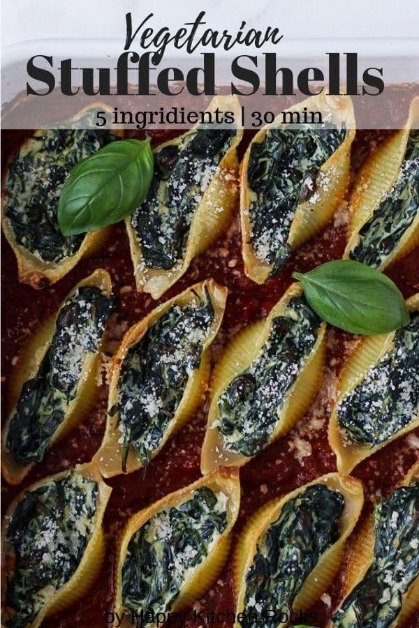 Pinterest Image of Stuffed Shells with Ricotta Cheese