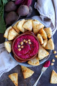 Roasted Beetroot Hummus with Pita Chips - Healthy Vegan Appetizer