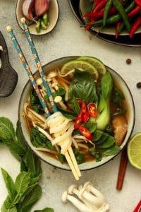Easy Vegan Pho (Vietnamese Noodle Soup) in a Bowl Delicious Closeup