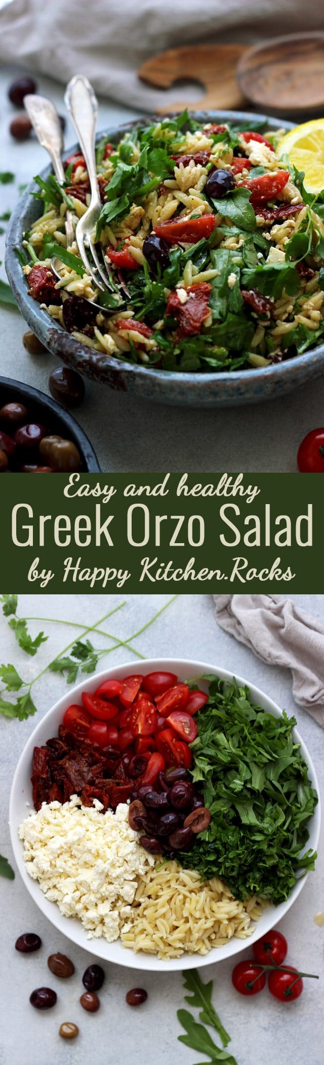 This easy Greek Orzo Salad is perfect for picnics, potlucks, BBQ and get togethers. Whenever you need an easy and healthy side dish, that is guaranteed to disappear first, make this gorgeous Greek orzo salad! #pastasalad #orzo #sidedish #bbq #Greekfood #Mediterraneanfood #pasta #salad #summersalad #summerveggies #healthyrecipes #orzopastasalad #pastasaladrecipe #saladrecipes #recipe