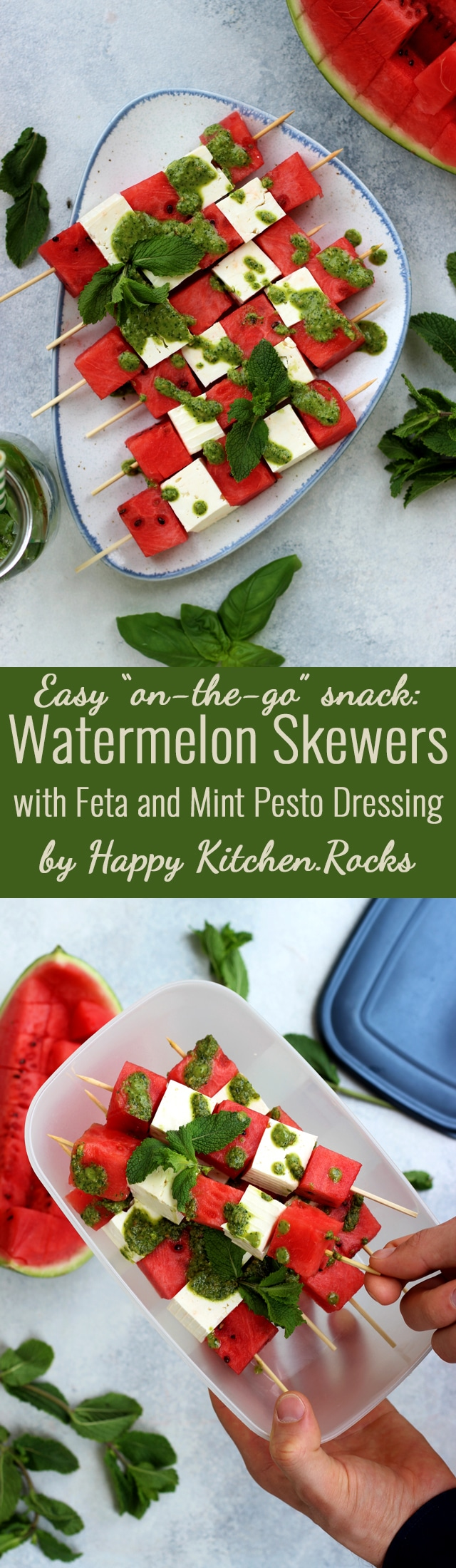 These take-along watermelon skewers with feta and mint pesto dressing are a quick and easy appetizer or snack for your next outdoor gathering, BBQ or picnic! Enjoy these delicious and healthy watermelon skewers on a hot summer day! #WatermelonOnTheGo #ad #summerrecipes #watermelon #feta #skewers #bbq #picnicrecipe #easyrecipes #recipes #cleaneating #pesto #peppermint #appetizer #snacks #onthego #healthysnacks