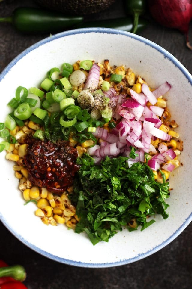 Ingredients for Chipotle Corn Salsa in a Mixing Bowl