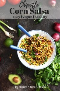 Grilled Corn Salsa in a Mixing Bowl Pinterest Collage