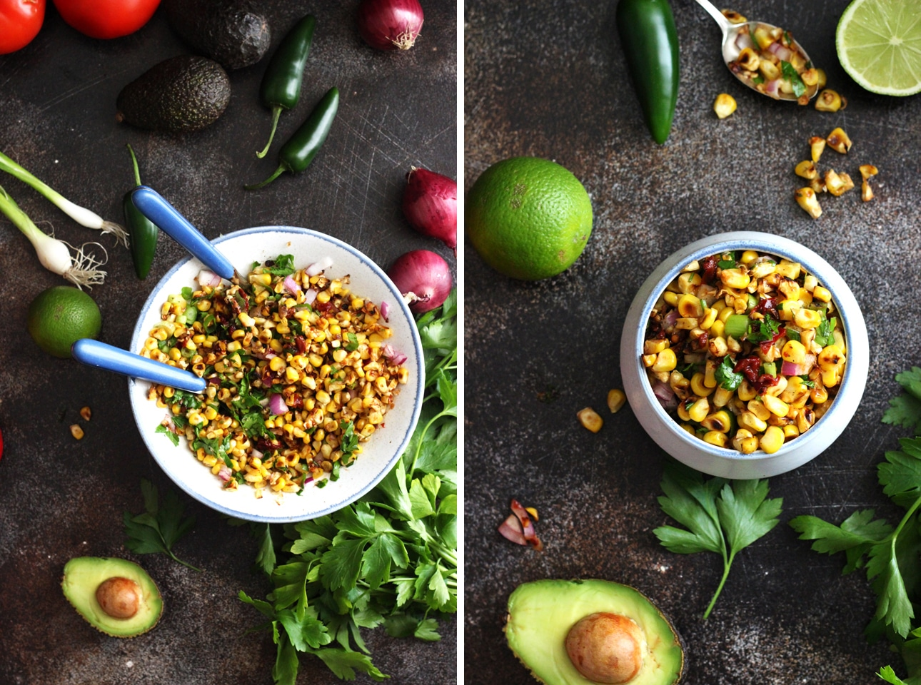 Chipotle Corn Salsa in a Mixing Bowl next to a Ramekin Collage