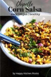Closeup Chipotle Corn Salsa in a Mixing Bowl Pinterest Collage