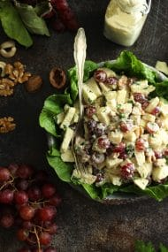 Healthy Vegan Waldorf Salad Recipe - Overhead Shot with Walnuts and Grapes around the Plate