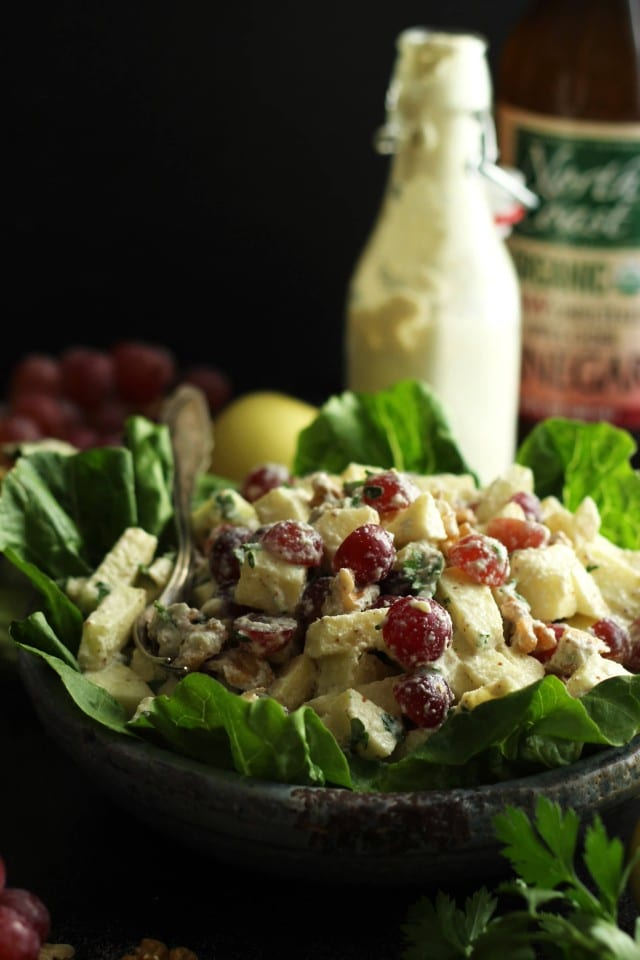 Healthy Vegan Waldorf Salad Recipe - with Ingredients in the Background on the Table