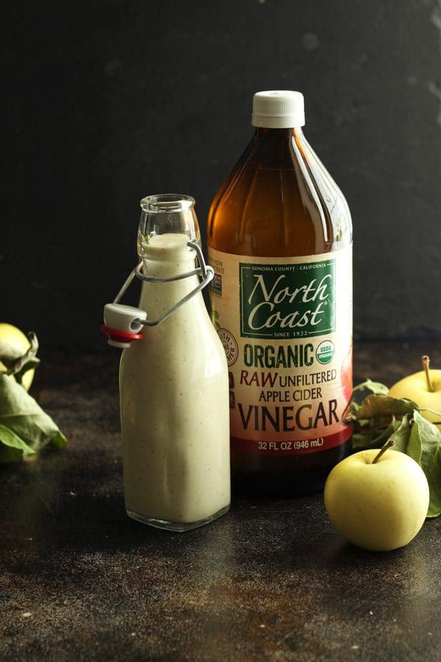 Healthy Vegan Waldorf Salad Recipe - Vegan Mayo Dressing and a Bottle of North Coast Organic Raw Unfiltered Apple Cider Vinegar