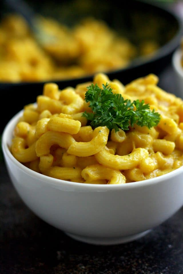 Silky Vegan Mac and Cheese - Beautiful Closeup Shot on the Delicious Vegan Dish
