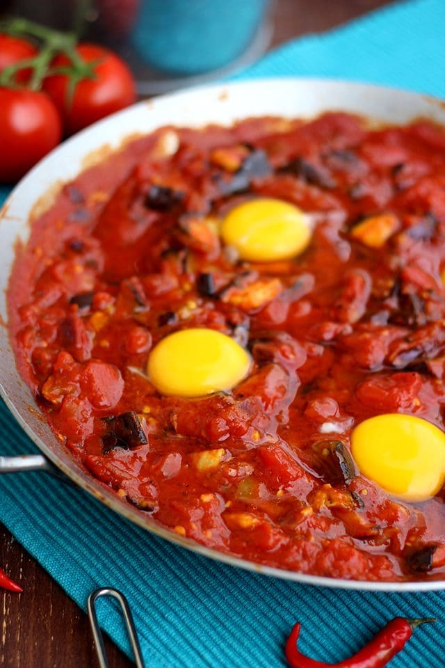 The Best Shakshuka Recipe - Egg Wells for Shakshuka Closeup