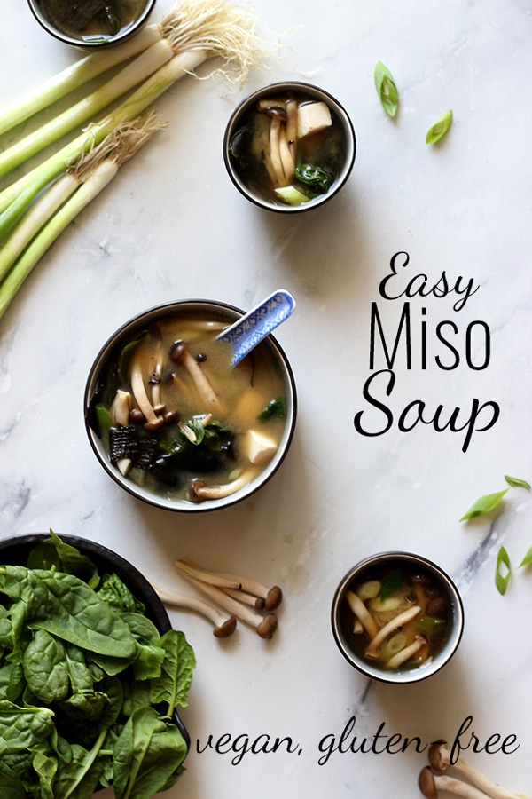 Easy Miso Soup (Japanese Clear Soup) Overhead Another Collage with Text Overlay
