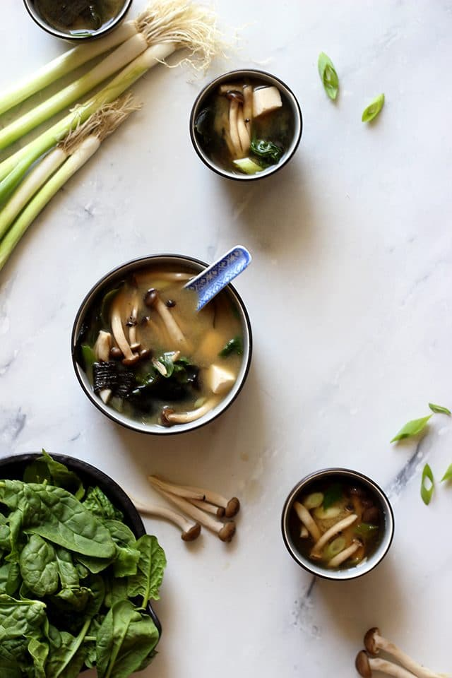 Easy Miso Soup (Japanese Clear Soup) Overhead with Mushrooms on the Table