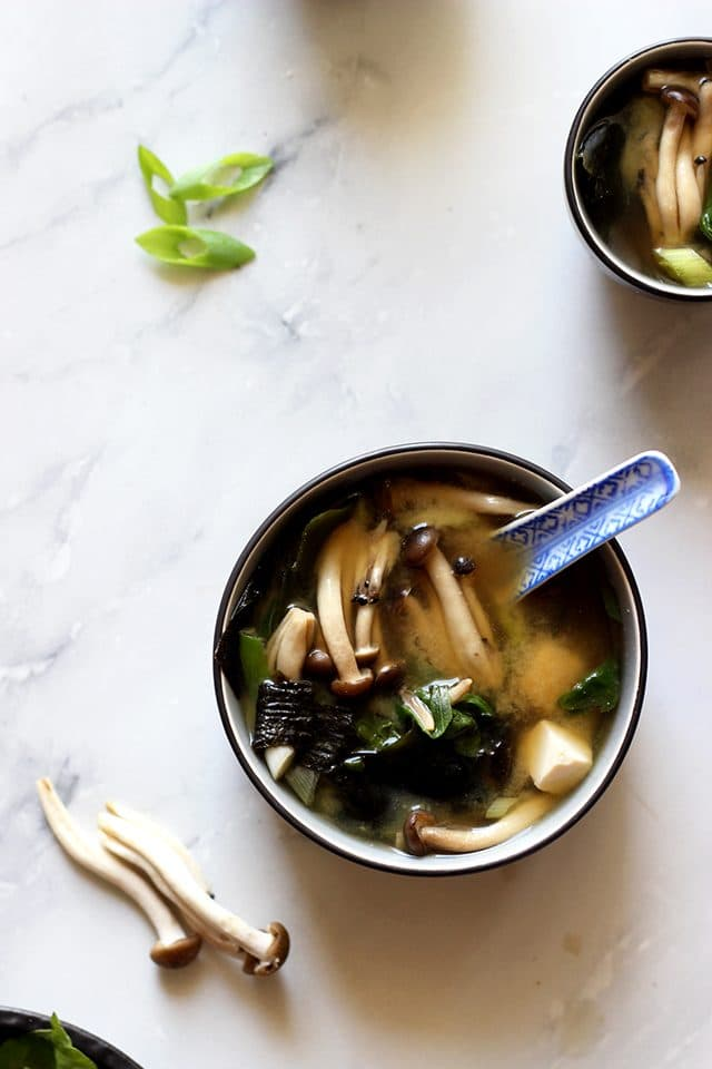 Easy Miso Soup (Japanese Clear Soup) - Bowls of Healthy Soup with a Beautiful Blue Spoon
