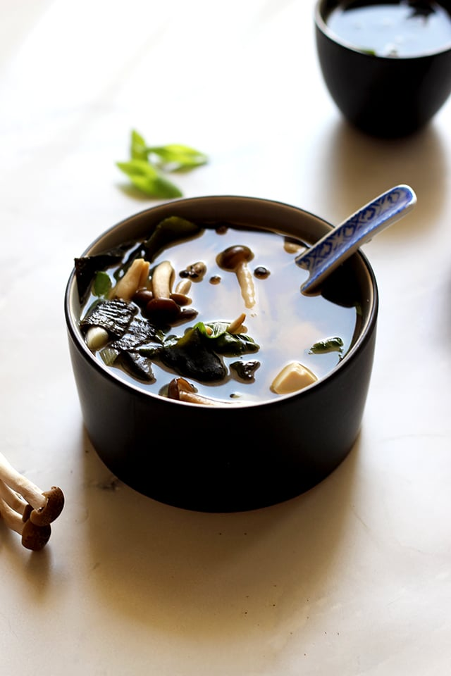 Easy Miso Soup (Japanese Clear Soup) - a Full Bowl of Soup Served with a Spoon