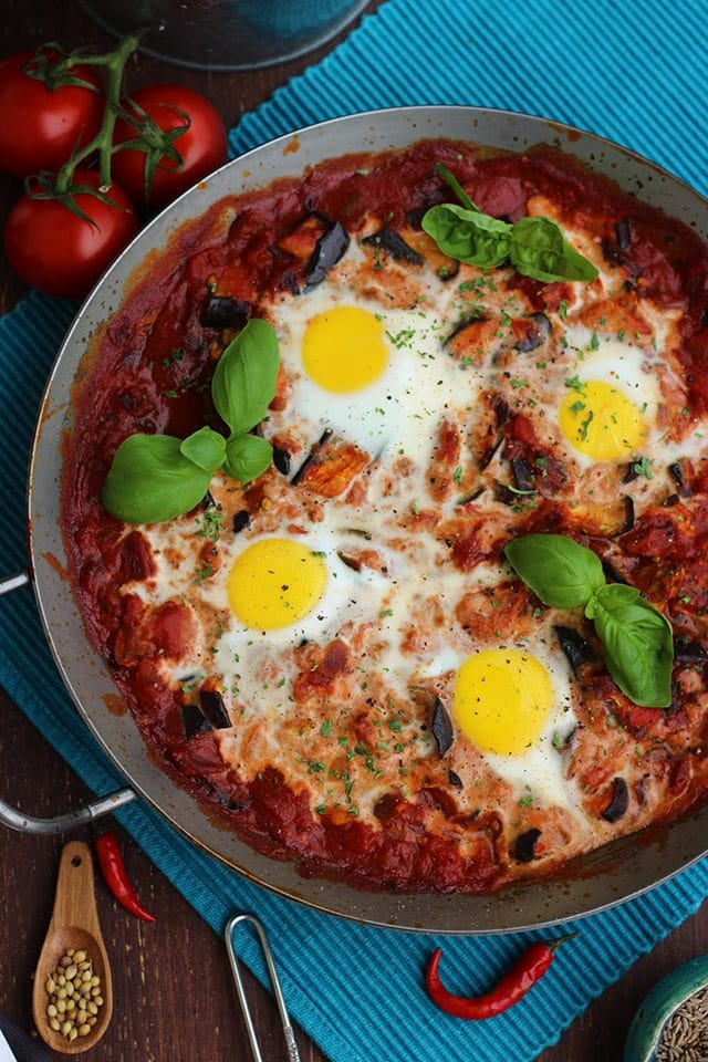 The Best Shakshuka Recipe Served in a Pan Overhead Shot