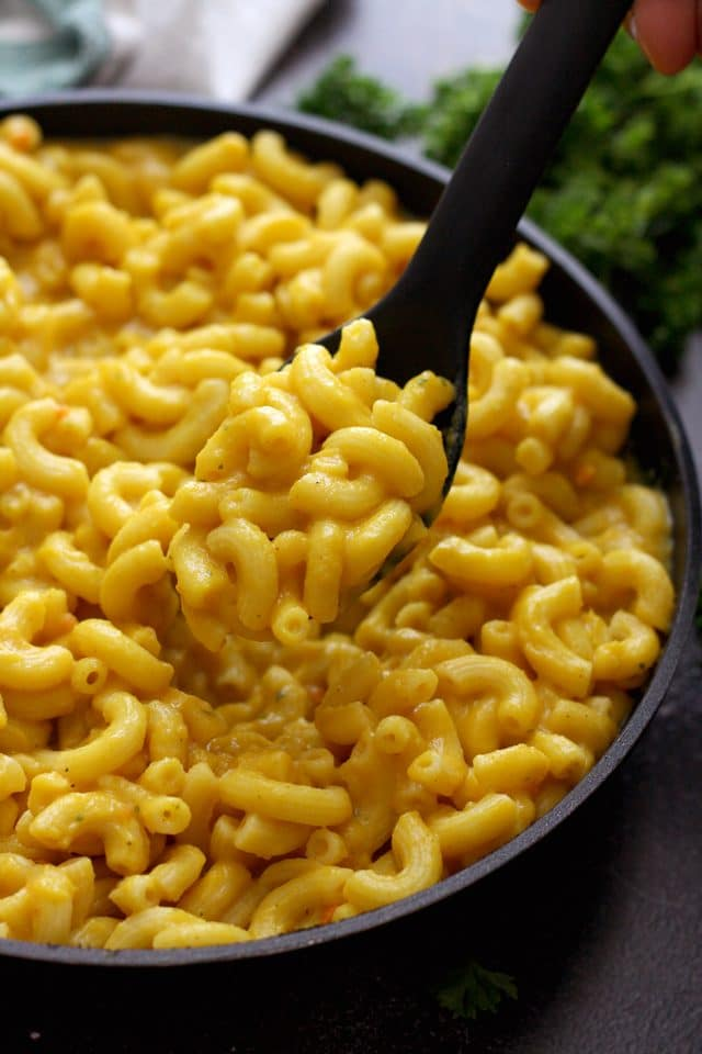 Silky Vegan Mac and Cheese in a Pan Ready to Be Served for Dinner
