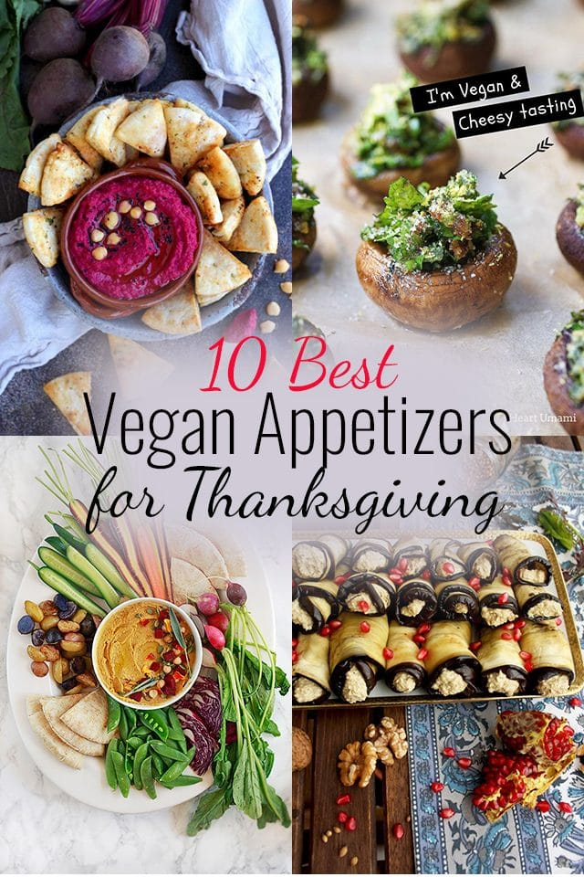 Top-10 fall-inspired Vegan Appetizers for Thanksgiving or Christmas dinner party. This delicious vegan appetizer recipe collection is perfect for your vegan holiday menu! #thanksgivingrecipes #vegan #appetizers #starters #happykitchen.rocks