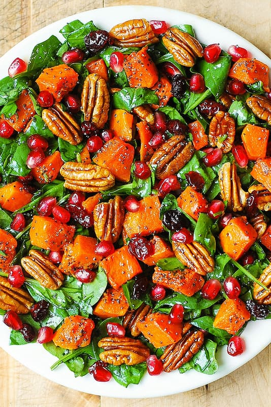 Top-10 fall-inspired Vegan Salads perfect for your Thanksgiving or Christmas dinner party. Impress your guests with these beautiful and delicious vegan salads that are easy to make!