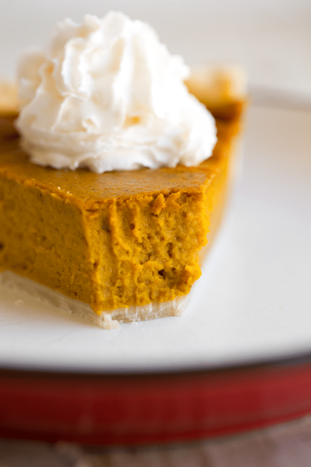 A Slice of Vegan Pumpkin Pie with Cream.