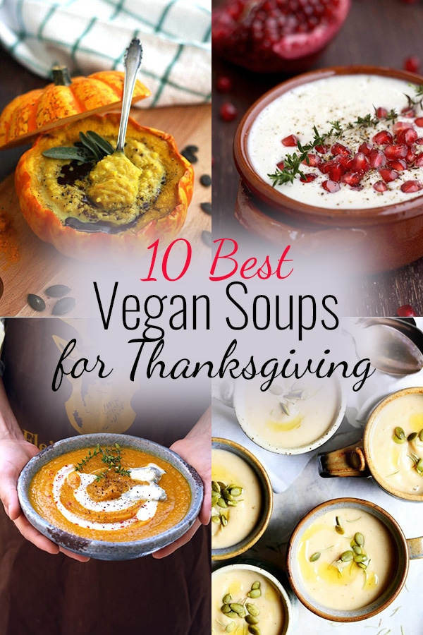 Collage of Vegan Thanksgiving Soups for Pinterest