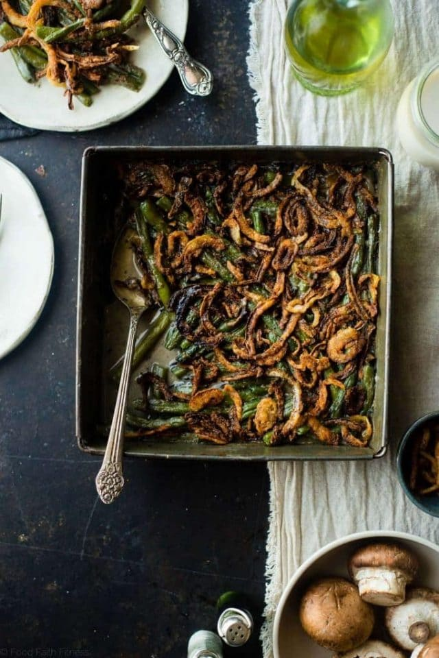 You'll never believe this rich, creamy dairy free vegan green bean casserole is gluten free, paleo friendly and whole30 compliant! Perfect for a healthy Thanksgiving!