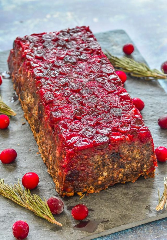 Vegan Lentil Loaf made with a delicious blend of lentils, mushrooms, walnuts and a beautifully festive cranberry topping.