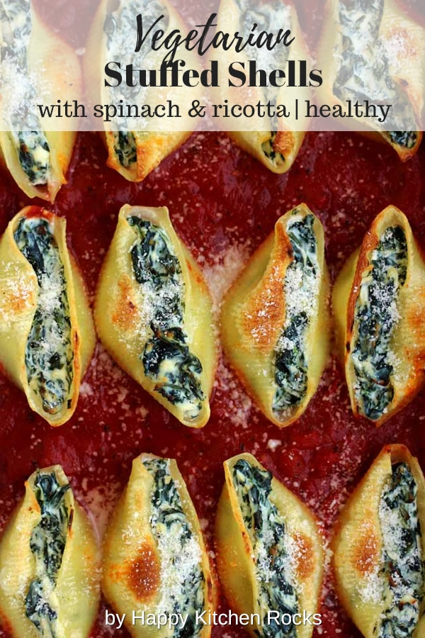 5 Ingredient Stuffed Shells with Spinach and Ricotta Collage with Text Overlay