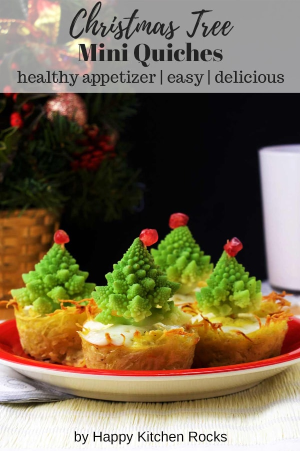 Christmas Tree Mini Quiches - Healthy Appetizer, Easy and Delicious, with Text Overlay