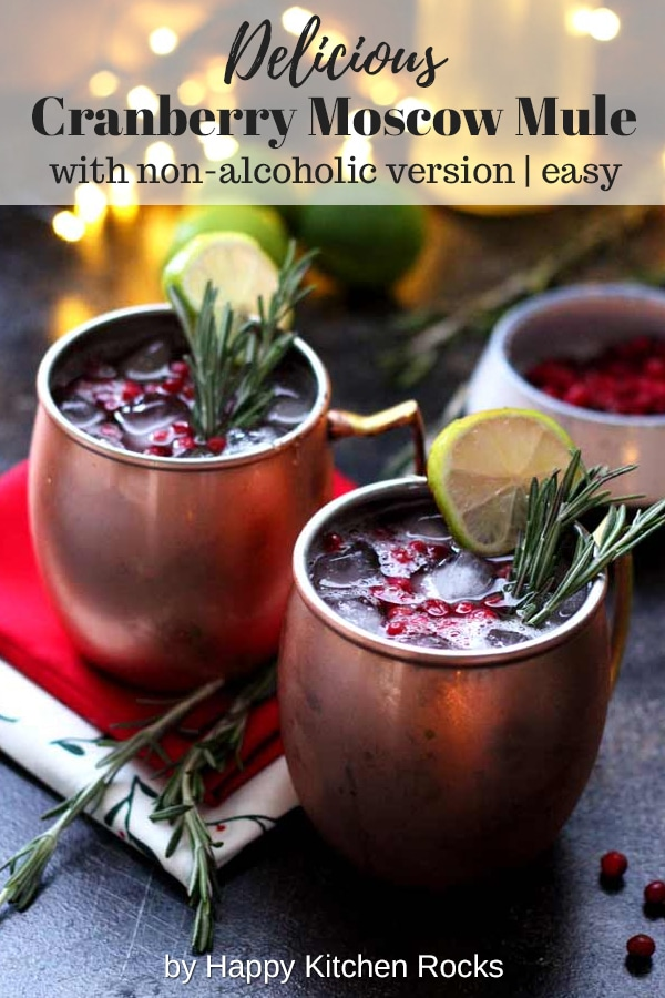 Cranberry Moscow Mule Served with Text Overlay