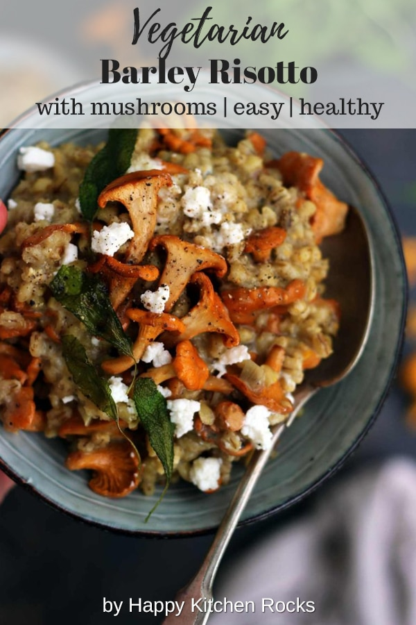 Easy Barley Risotto with Mushrooms and Goat Cheese Served Collage with Text Overlay