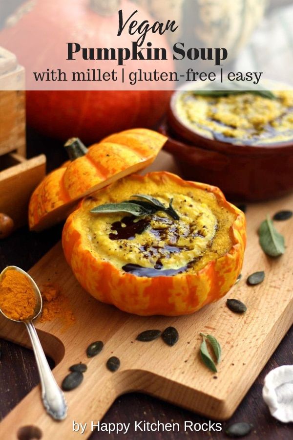 Easy Pumpkin Soup with Millet in Pumpkin Bowls with a Spoonful of Rich Soup with Text Overlay