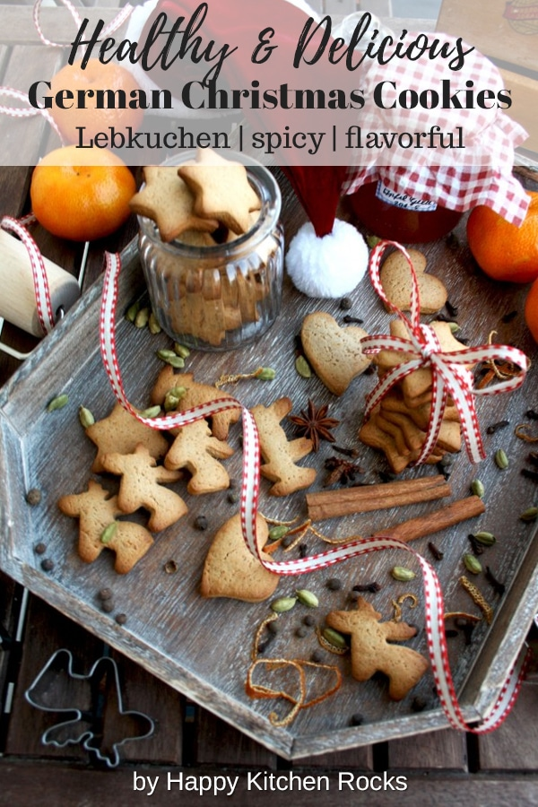 German Christmas Cookies - Lebkuchen - on a Tray Collage with Text Overlay