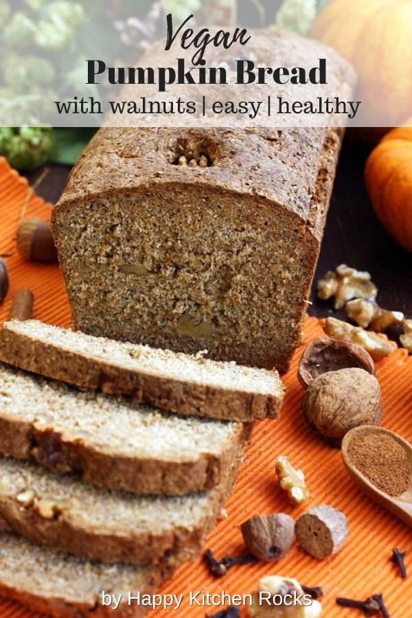 Healthy Pumpkin Bread with Walnuts Cut in Pieces with Text Overlay
