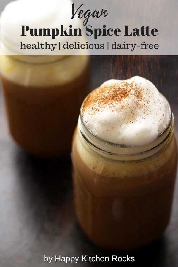 Healthy Vegan Pumpkin Spice Latte - Two Mason Jars Topped with Cashew Whipped Milk, Sprinkled with Cinnamon