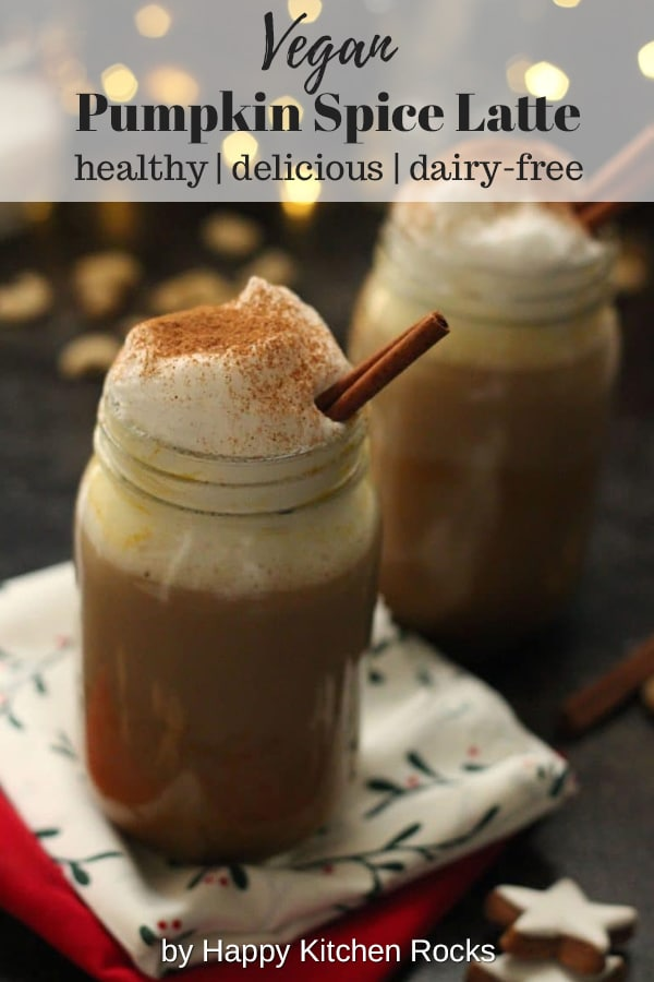 Healthy Vegan Pumpkin Spice Latte - Two Mason Jars with Festive Lights in the Background