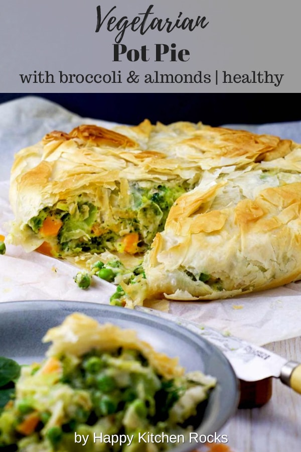 Healthy Vegetarian Pot Pie with Broccoli and Almonds