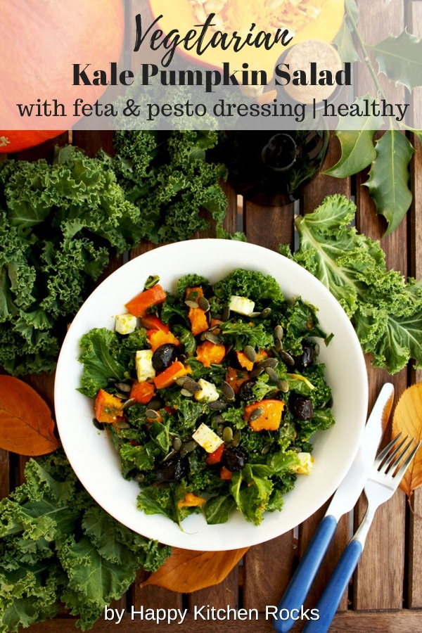 Kale Pumpkin Salad with Feta and Pesto Dressing - Served with Various Greens Collage with Text Overlay