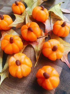 Marzipan Pumpkins on Maple Leaves.