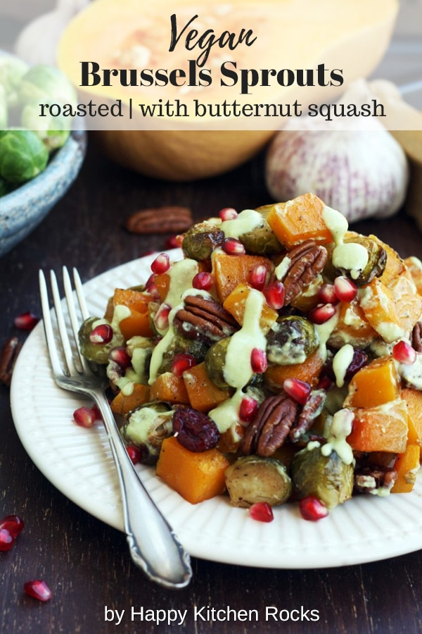 Roasted Brussels Sprouts with Butternut Squash Served on a Plate Collage with Text Overlay