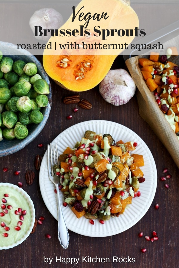 Roasted Brussels Sprouts with Butternut Squash on the Table Collage with Text Overlay