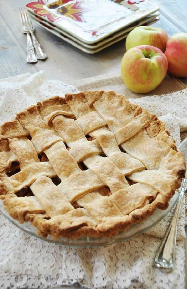 Vegan apple pie with lattice crust.