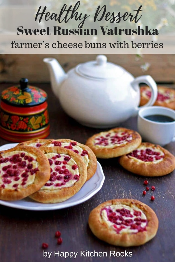 Vatrushka: Sweet Russian Farmer's Cheese Buns with Berries - Healthy Dessert Collage with Text Overlay