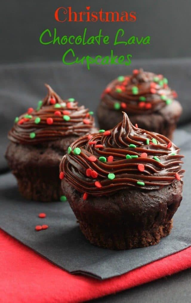 Christmas Chocolate Lava Cupcakes.