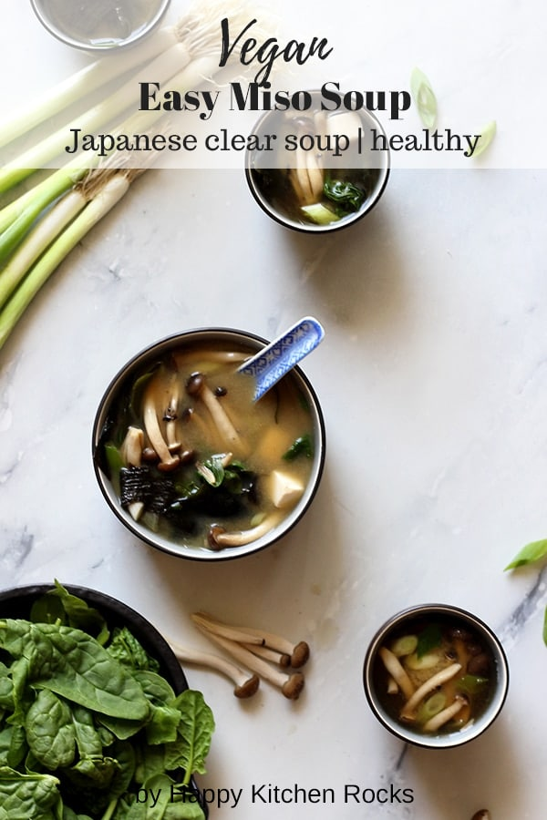 Easy Miso Soup (Japanese Clear Soup) - Vegan Healthy Dish Collage with Text Overlay